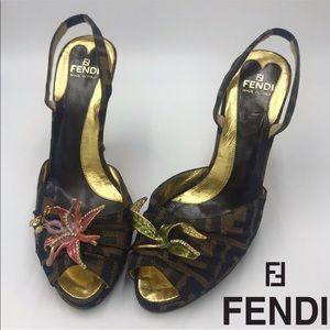 228ab3c66491 Authentic FENDI Zucca Embellished Slingback Heels